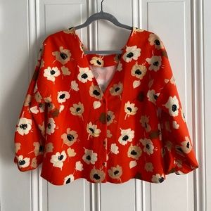 Zara Orange Floral Blouse Size Medium